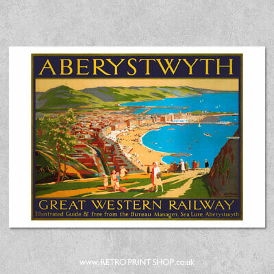 £5.50 • Buy GWR Aberystwyth Poster - Railway Posters, Retro Vintage Travel Poster Prints