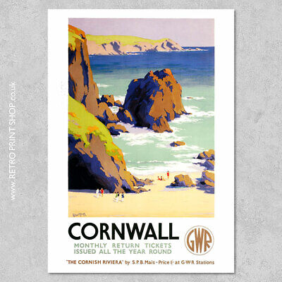 £7.50 • Buy GWR Cornwall Poster - Railway Posters, Retro Vintage Travel Poster Prints