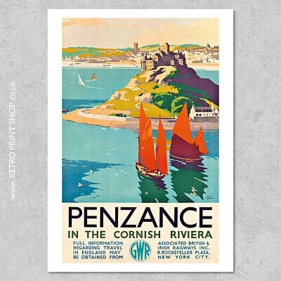 £7.50 • Buy GWR Penzance Poster - Railway Posters, Retro Vintage Travel Poster Prints