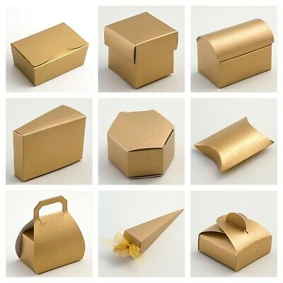 £3.99 • Buy Gold Silk Wedding Favour Boxes And Ballotins - Luxury DIY Party Gift Box Only