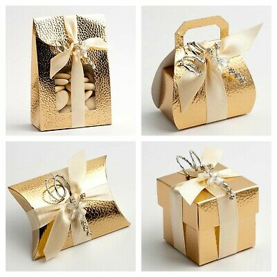 £1.99 • Buy Pelle Gold Wedding Favour Boxes - Luxury DIY Party Christmas Gift. Box Only