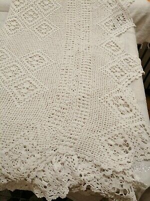 Superb Antique French Linen Crochet Bed Spread Double. • 75£