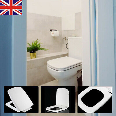 £10.59 • Buy Heavy Duty Square Toilet Seat Soft Close Quick Release Top Fix Hinge Easy Clean