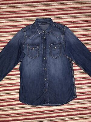 Mens Diesel Blue Denim Fitted Shirt Size M • 45£
