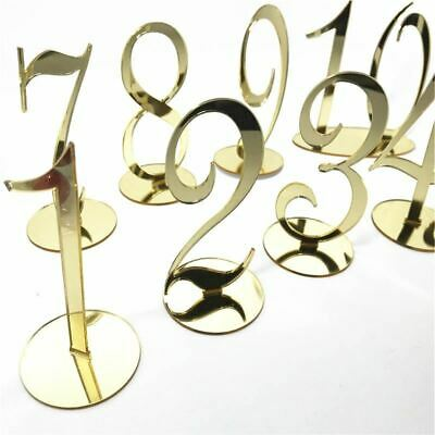 $81.07 • Buy Personalized Wedding Table Numbers Acrylic Mirror Gold Table Number Stand Weddin
