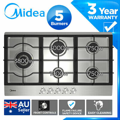 AU513.35 • Buy MIDEA 90cm Stainless Steel Gas Cooktop Stainless Steel 5 Burners Flame Safety