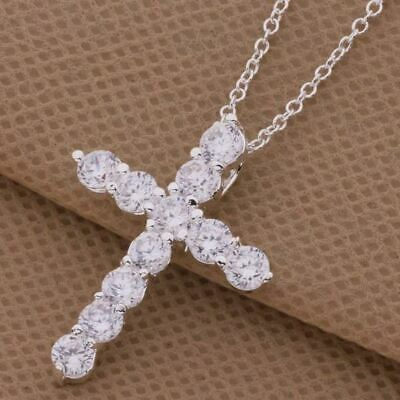 925 Sterling Silver Crystal Cross Necklace Pendant Chain Jesus + Bag Womens • 4.99£
