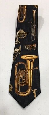 EUC Mens Necktie Brass Trumpets & Trombones Steven Harris Hand Made Black & Gold • 8.75$