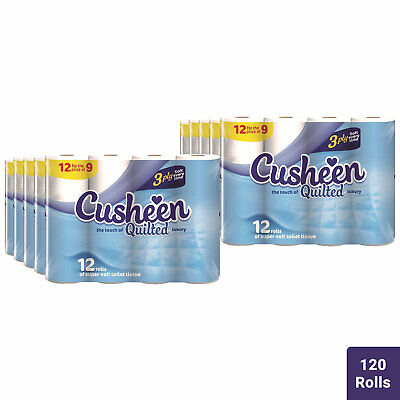 £37.99 • Buy 120 Rolls Cusheen Quilted White 3 Ply Toilet Paper