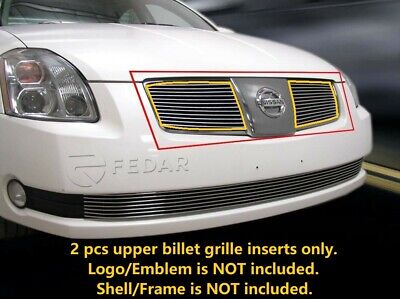 $31.24 • Buy Polished Billet Grille Front Combo INSERTS 2Pcs Fits 2004-2006 Nissan Maxima