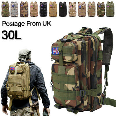 Military Tactical Army Backpack Rucksack Camping Hiking Trekking Outdoor Bag 30L • 19.88£