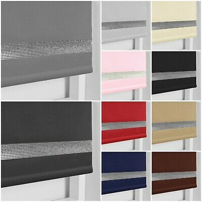 £19.99 • Buy Child Safe Easy Fit Thermal Blackout Dim Out Diamond Diamante Trim Roller Blinds