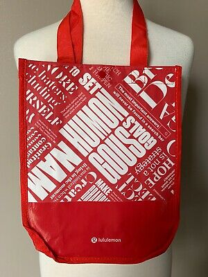 $ CDN6.01 • Buy NEW Lululemon 20Y Manifesto Reusable Tote Bag Eco Red Small Gym Lunch Shopping