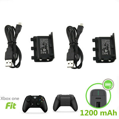 Xbox One S X Controller Play Charging Charger Cable 2x Rechargeable Battery Pack • 10.95$