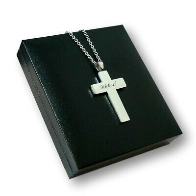 Engraved Cross Necklace, Personalised Gift For Baptism, First Communion, Man,Boy • 16.99£