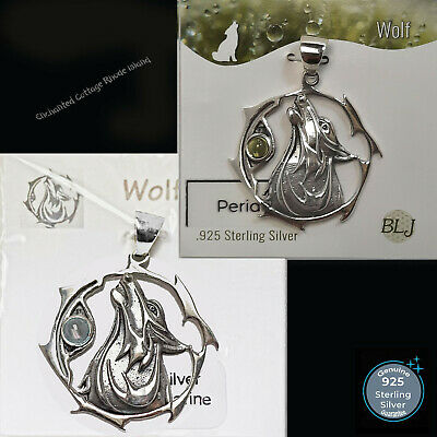 £18.61 • Buy Sterling Silver 925  Wolf  Freedom Loyalty Real Gemstone Amulet Pendant Jewelry