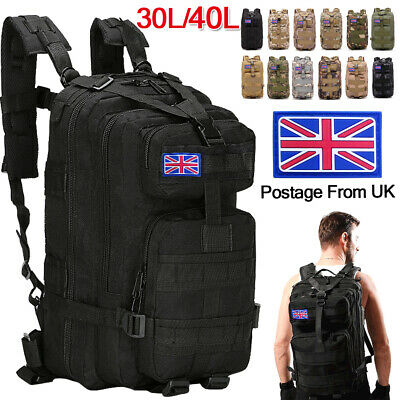 40L Military Tactical Army Backpack Rucksack Camping Hiking Trekking Outdoor Bag • 25.99£