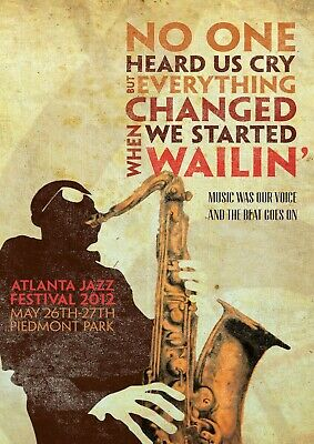 Vintage Music Poster Art Atlanta Jazz Festival AJF01 A3 A4 POSTER BUY 2GET 1FREE • 4.75£
