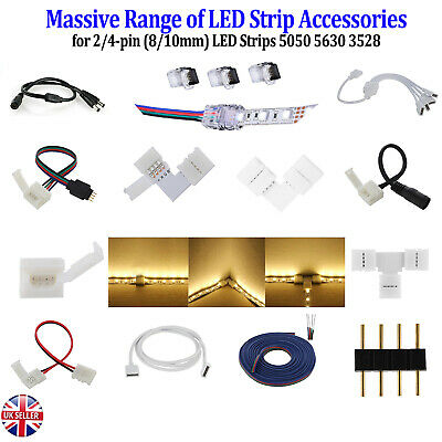 2pin 4pin Led Strip Rgb Extension Cable Wire Adapter Clip Connector 8mm 10mm • 1.20£