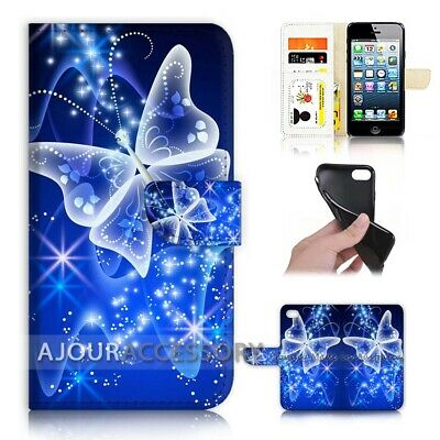AU12.99 • Buy ( For Huawei Y5 2018 ) Wallet Flip Case Cover AJ21099 Blue Bling Butterfly