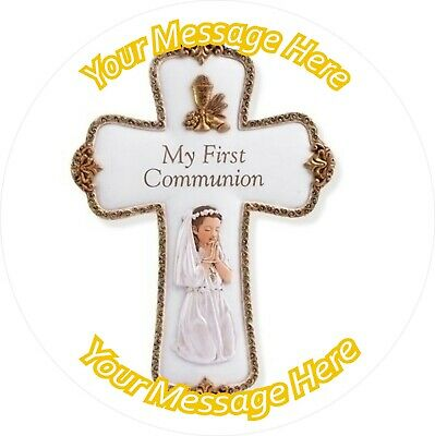 First Holy Communion 8  Round Icing Cake Topper • 4£