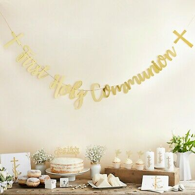 £6.59 • Buy Gold First Holy Communion Decorations Christening Party Banner Napkins Etc