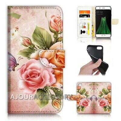 AU12.99 • Buy ( For Oppo A57 ) Wallet Flip Case Cover AJ21123 Floral Flower Butterfly