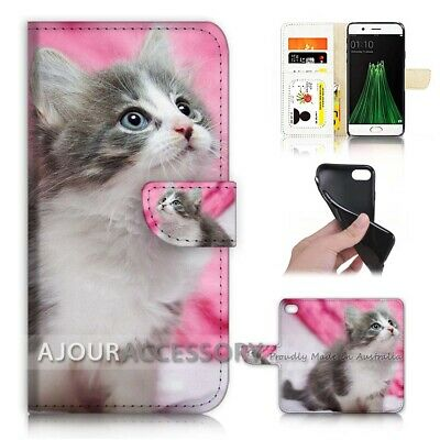 AU12.99 • Buy ( For Oppo A57 ) Wallet Flip Case Cover AJ21197 Cute Pussy Cat