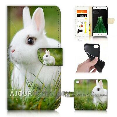 AU12.99 • Buy ( For Oppo A57 ) Wallet Flip Case Cover AJ21271 Cute Bunny Rabbit