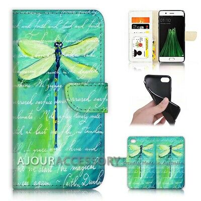 AU12.99 • Buy ( For Oppo A57 ) Wallet Flip Case Cover AJ21093 Green Dragonfly