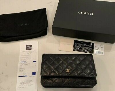 85f8c8640075 100% Auth CHANEL Black Caviar Leather Quilted Gold CC Wallet On Chain WOC  Bag •