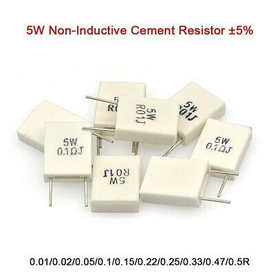 $1.69 • Buy 5W Non-Inductive Cement Resistor ±5% Values Of 0.01Ohm-0.5Ohm Ceramic Resistor