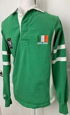 5e9cd71ed08 IRELAND Mens Barbarian Long Sleeve Polo Rugby Wear Jersey Shirt Size Small  Green • 23.09$