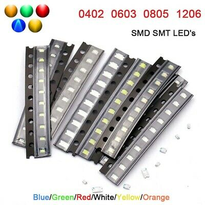 $2 • Buy SMD SMT LED's Type 0402 0603 0805 1206 Blue Green Red White Yellow Orange