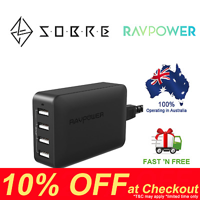 AU39.95 • Buy RAVPower 40W 8A 4 USB Port Wall Charger Charging Station AC Power Adapter AU