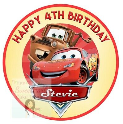 Cars Cake Topper Personalised Lightning Mcqueen Edible Icing Cake Decoration • 5.99£