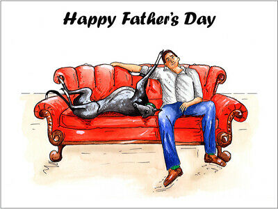 £4.45 • Buy Fathers Day Card Greyhound Whippet Lurcher Italian Gift - CUSTOM TEXT - Gifts
