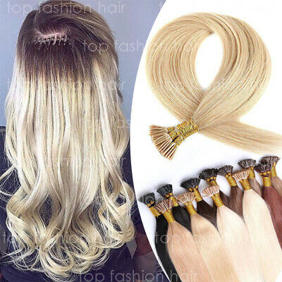 $24.31 • Buy THICK Pre Bonded 18-22'' I Stick Tip Keratin Human Hair Extensions Straight P325