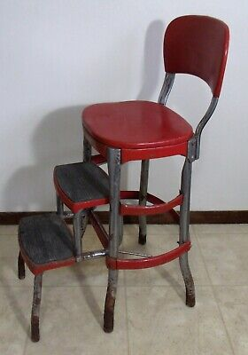 Vintage Retro Red Original Cosco Step Stool Kitchen Chair Retracting Steps Used 87 77
