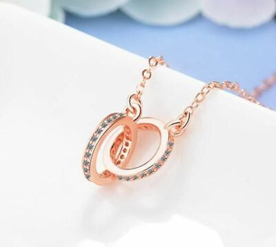 Rose Gold Plated CZ Infinity/Karma Double Circle Necklace + Gift Bag • 5.99£