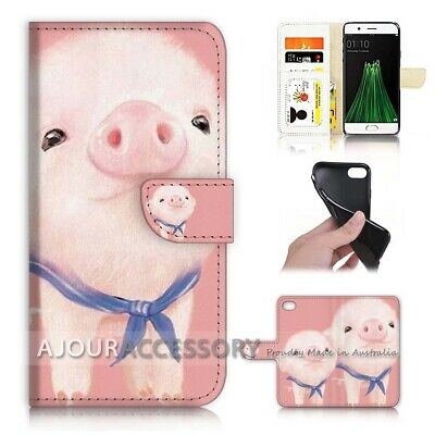 AU12.99 • Buy ( For Oppo A57 ) Wallet Flip Case Cover AJ21440 Pink Baby Pig