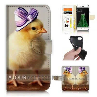 AU12.99 • Buy ( For Oppo A57 ) Wallet Flip Case Cover AJ21435 Cute Chick Hat