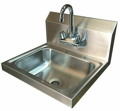Commercial Stainless Steel Hand Wash Basin With Tap Splashback Included • 109£
