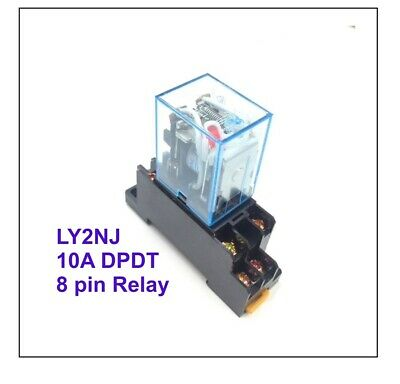 £4.95 • Buy 12V DC 8 Pin Relay And Socket Base Included , 10A DPDT LY2NJ 0600