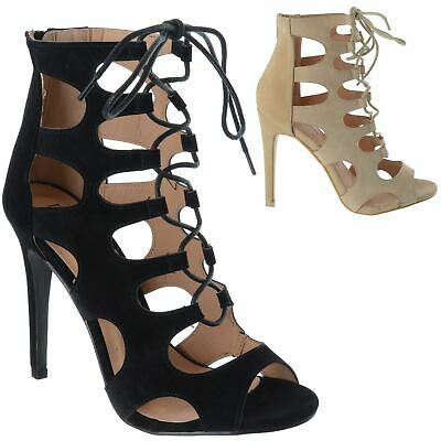 £16.99 • Buy Womens Ladies Gladiator Caged Cut Out High Stiletto Heel Lace Sandals Shoes Size