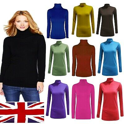 £6.44 • Buy Womens Turtle Neck POLO Neck Long Sleeve Stretch T Shirt Top Jumper - Polo Neck