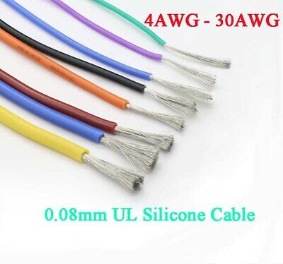 AU10.79 • Buy 4-30 AWG UL Silicone Flexible Stranded Cable 0.08mm RC Model Wire 600V Colourful