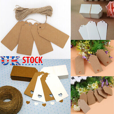 50/100 Christmas Kraft Paper Gift Tags Price Wedding Scallop Label Blank Luggage • 2.75£
