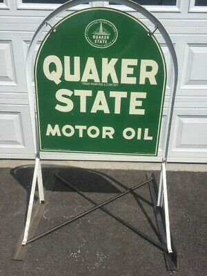 Vintage Quaker State Thick Metal Tombstone Sign Double Sided W/ Original Stand • 520$
