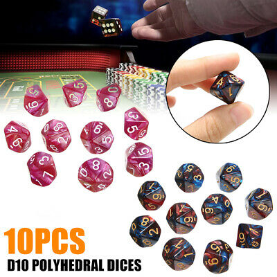 10PCS D10 Sided Dice Set Polyhedral Die For Dungeons And Dragons Table Game UK • 3.61£